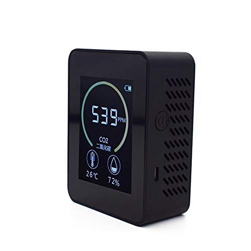 BouBou K02 Detector de Calidad del Aire en el hogar Medidor de Co2 Probador de Humedad y Temperatura C02 Multifuncional Pantalla LCD con retroiluminación - Negro