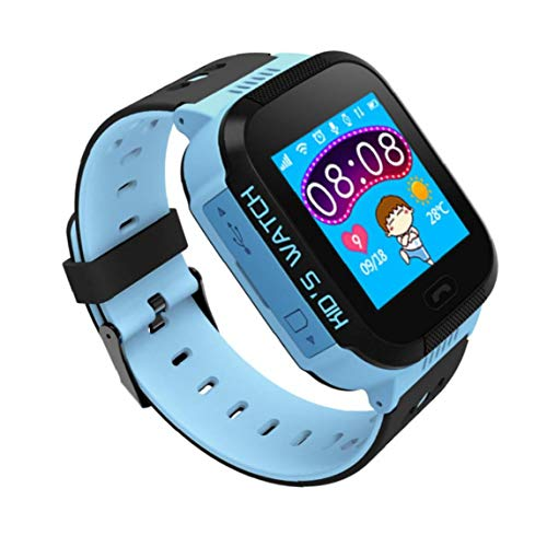 Reloj Del Teléfono Del Reloj De La Cámara Niños Niñas Pantalla Táctil Llamada De 2 Maneras Chat De Voz Sos Despertador Perdido Anti Linterna Smartwatch Pulsera Reloj Del Teléfono Móvil Azul