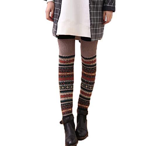 HONYGE LXGANG Durante el Invierno la Rodilla Largo Comfort Punto de Ganchillo Calentadores de la Pierna Legging Media con Estilo Calcetines (Color : D)