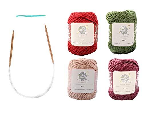 Mindfulness Flora Knitting Kit, Includes 100% Cotton Knitting Yarn, Circular Knitting Needles, Yarn Needle; Knit for Mindfulness and Relaxation – by mindfulknits