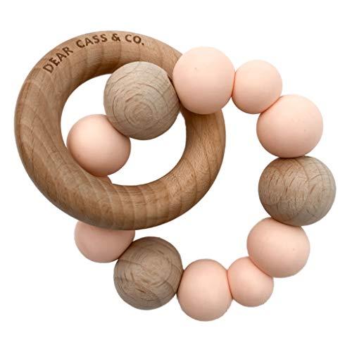 Massaggia Gengive per neonati Dear Cass & Co - Massaggiagengive in silicone e Legno per bambini, 100% senza BPA, Massaggiagengive Neonati per dentizione, Silicone Naturale + Comunità Mamme (Rosa)