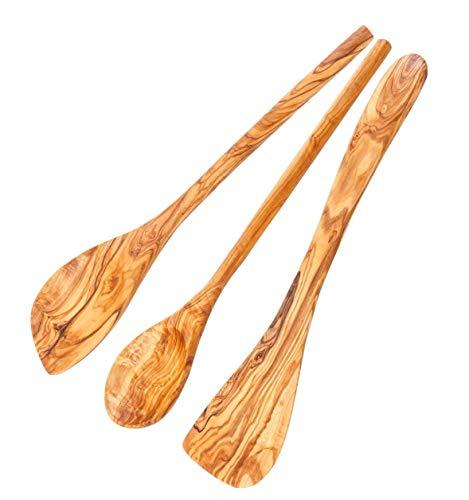Schwertkrone Kochlöffel Set Olivenholz | Pfannenwender | Risottolöffel | spitz und rund (Set 3-teilig)