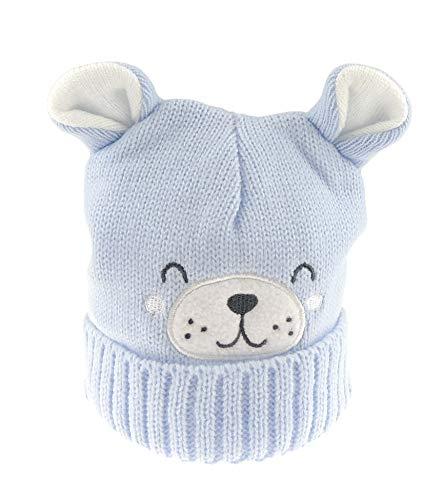 Glamour Girlz Bonnet en tricot chaud pour bébé garçon Motif oreilles mignons Bleu
