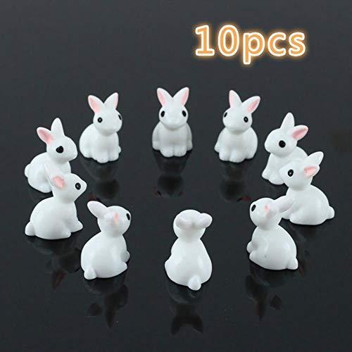 10 Pcs Lovely Miniature Garden Mini Rabbit Resin Fairy Ornament Flower Plant Pot Home Figurine Animal Decor supply,White