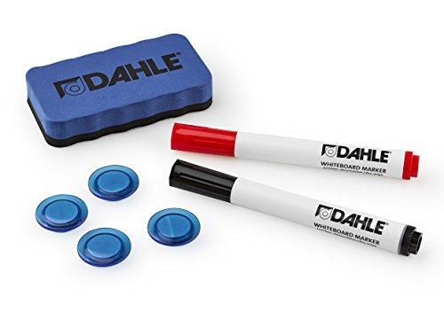 Dahle 95140-13540 Whiteboard Starterset (2 Boardmarker rot/schwarz, 4 Magnete, 1 magnetischer Wischer)