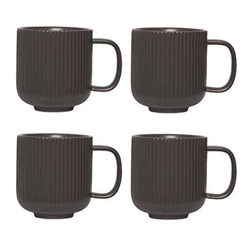 KØZY LIVING Keramik Tasse 4 Stk - 350 ml Tassen-Set mit Henkel aus in skandinavischem, nordic Design - perfekt für Kaffee oder Tee - Anthrazit