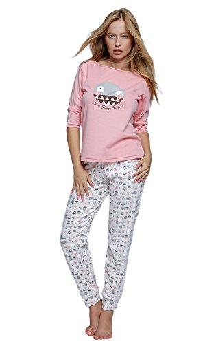 S& SENSIS sensationeller Baumwoll-Pyjama (Made in EU) Shorty Schlafanzug Hausanzug aus zartem Oberteil und toller Hose, Gr. 40, Rosa/Weiß mit Eule