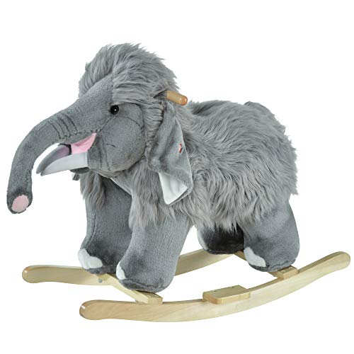 Qaba Kids Ride-On Rocking Horse Toy Mammoth Style Rocker with Fun Music & Soft Plush Fabric for Children 18-36 Months