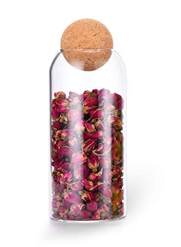 1200ML/40Oz round cork glass bottle sealed jar nut storage jar coffee bean jar round transparent