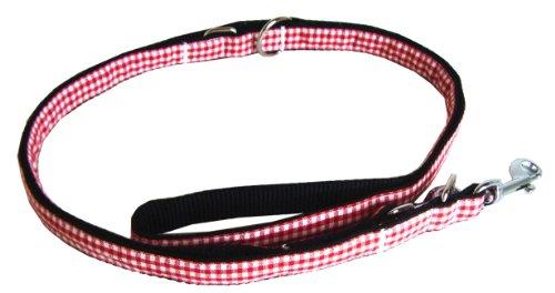 Luxe nylon hondenriem Alpenrock rood geruit geleider 1,80m x 2cm