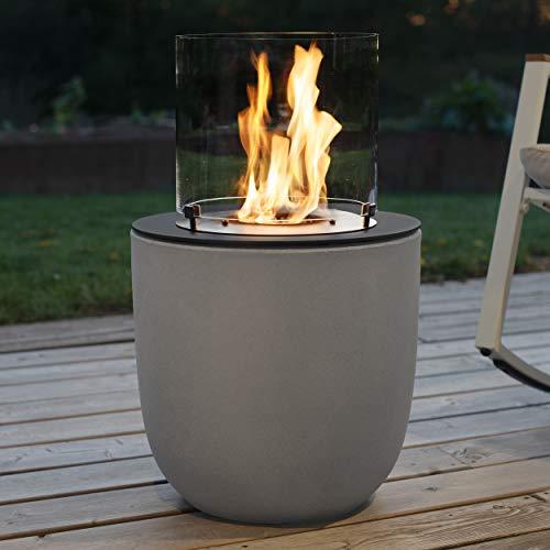 muenkel design Vagos – Beton-grau – Bio-Ethanol Feuerstelle Gartenfackel Terrassenfeuer mit Round Burner 300 Brennkammer