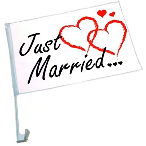 marion10020 Autofahne Hochzeitsfahne Just Married, Auto Fahne Flagge Autoflagge, zur Dekoration für die Hochzeit, 15er-Set