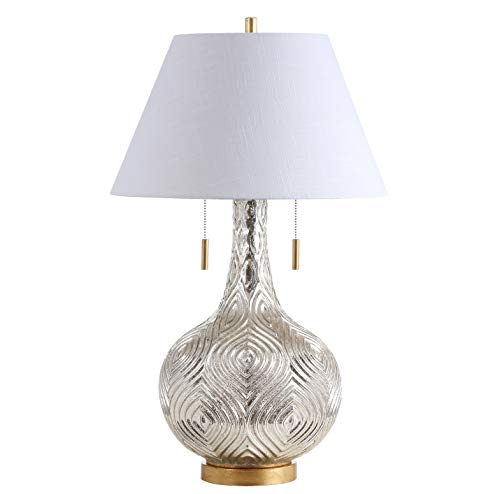 "JONATHAN Y JYL6206A Highland 30.75"" Gourd Glass LED Table Lamp, Contemporary, Transitional for Bedroom, Living Room, Office, Mercury Silver/Gold"