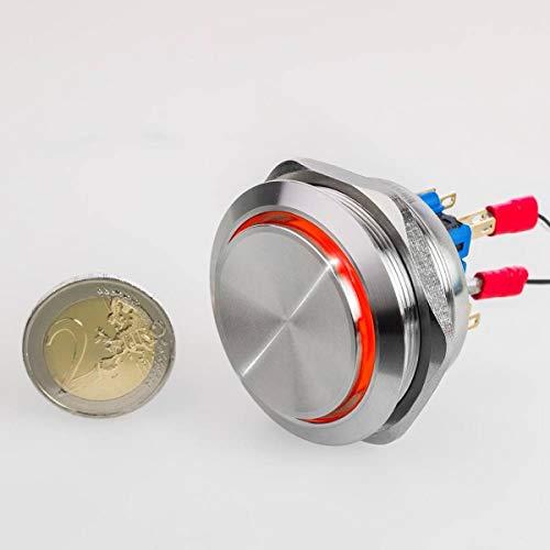 Hervorstehender LED - Taster - Durchmesser Ø 40 mm - aus V2A Edelstahl - staub - und wasserdicht- AC/DC - witterungsbeständig - R