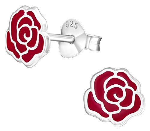 Pendientes de tuerca hipoalergénicos de plata de ley con rosas rojas (sin níquel)