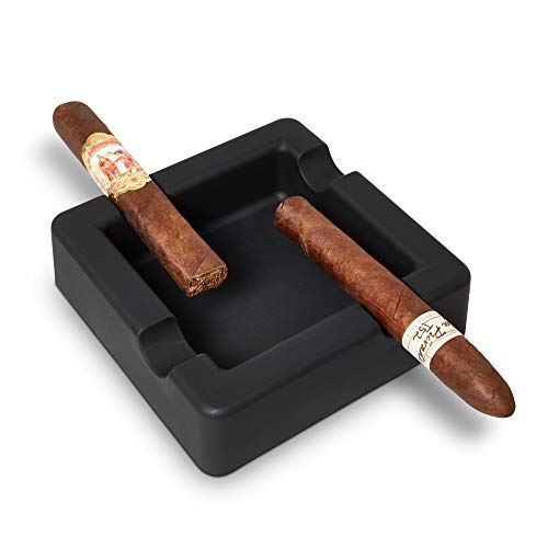 FairleeCove Cigar Ashtray Large Gauge Cigars - Wide Shelf - Deep Bowl - Unbreakable – Sturdy Yet Flexible Silicone Indoor Outdoor Cigar Ashtrays for Patio Pool Restaurant
