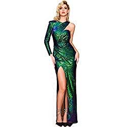 Green Sequin Backless High Slit One Shoulder Maxi Dress