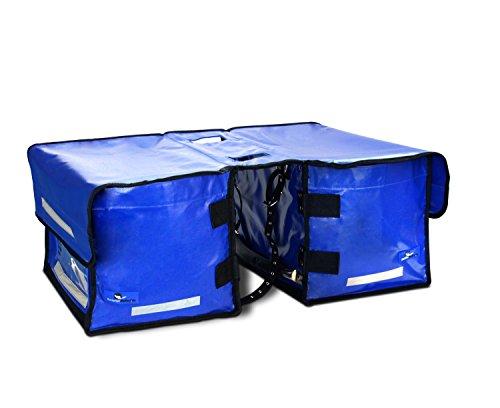 Profi - Fahrradtasche Fahrraddoppeltasche Lastentasche Zeitungstasche Einkaufstasche groß - wasserdicht (blau)