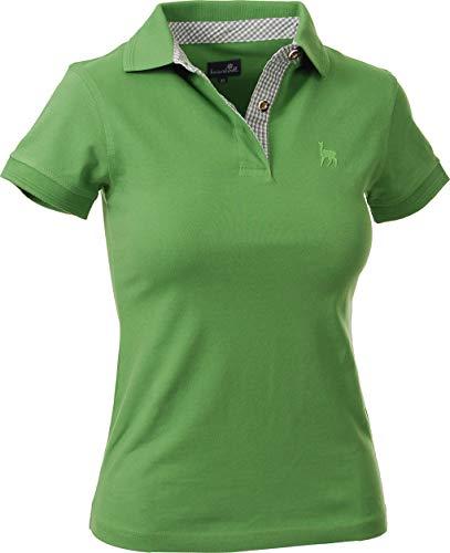 Trachtenpolo-Shirt Damen, Pique-Baumwolle und Elasthan, Polo-Shirt in tannen-grün, blau und grau mit Hirsch-Stick, alle Größen (M, Kiwi)
