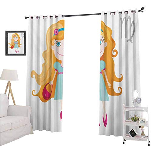 Printed Blackout Curtains, Little Cartoon Girl with Orange Hair Pink Purse and Shoes Kids Nursery Theme, 2 Panels 96 Inches Long Window Curtains for Living Room, Multicolor