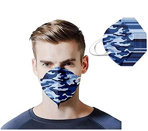 Wythe 50 piezas de 3 capas,versión coreana,estampado de camuflaje, regalo para él, orejas colgantes, hueso nasal, cuerda elástica, bandana, no lavable para adolescentes y adultos (#1)