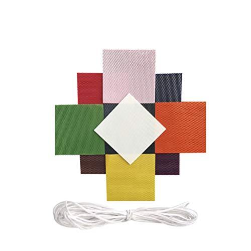 Healifty 10Pcs Kit de Velas de Cera de Abejas Hojas de Panal de Cera de Abejas con Núcleo de Cera de Algodón Color Mezclado