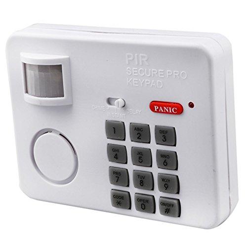 Basage Motion Sensor Alarm with Security Keypad PIR Home Garage Shed Caravan White