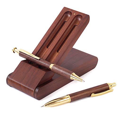 ボールペン セット 木製 シャーペン 立つ ペンケース 3点セット 高級 天然木 プレゼント ギフトボックス付 (ブラウン)
