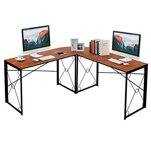 VECELO Schreibtisch L-Förmiger Klappbarer Computertisch Große Holz Bürotisch Eckschreibtisch Winkelschreibtisch PC-Tisch Langlebig und Stabil Vintage Braun