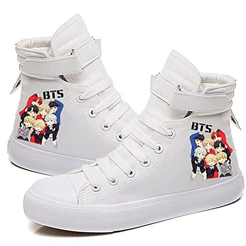 LXYA Kpop BTS Zapatillas de lona con cordones juveniles a prueba de balas, zapatillas de deporte altas para mujer, zapatillas de moda estilo hip-hop de moda - Lo mejor para caminar, viajar y exteriore