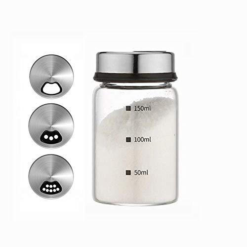 Zhiyangmaoyi 砂糖 容器 砂糖入れ 塩 容器 スパイスボトル 調味料入れ 耐熱ガラス 調味料ボトル 調味料 容器 150ml