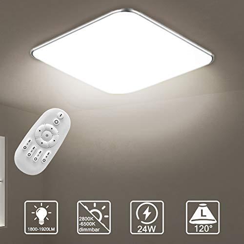 Aufun 24W LED Deckenleuchte Dimmbar, Deckenlampe für Flur, Küche, Wohnzimmer, Büro, Modern Lampe Schutzart IP44, Energie Sparen Licht, 380x380 mm, Dimmbar (2800-6500K) inkl. Fernbedienung
