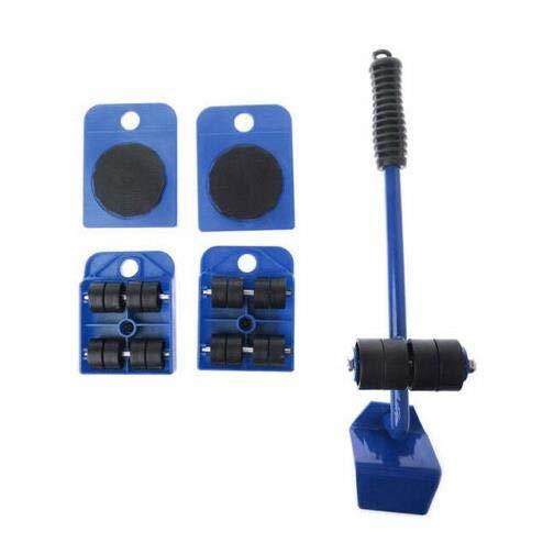 LeeMon Möbel-Transportroller-Set 5-teilig, 4 Möbelroller & 1 Lastenheber,Professionelles Möbelgleiter System zum sicheren Transportieren von Couch, Schrank, Waschmaschine etc. (Blau)