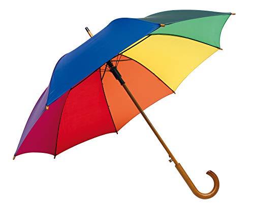 Automatik Regenschirm Holzschirm Stockschirm Portierschirm mit gebogenem Rundhaken Holzgriff in 103 cm Durchmesser von notrash2003 (Regenbogen)
