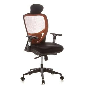 hjh OFFICE 657120 silla de oficina VENUS BASE asiento tela/respaldo malla naranja/negro silla ergonómica