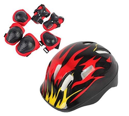 TUPWEL 1Set Adjustable Foam Protective Gear Set 8-14 Years Old Children Safeguard Elbow Helmet Wrist Knee Pads for Cycling Skating Skateboard Skating Skate Skateboarding Child Outdoor Sports Boys