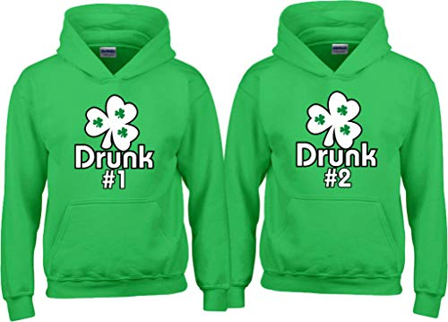 Drunk 1 Drunk 2 3 4 5 Any Number Saint Patrick's Day Custom Matching Long Sleeve Hoodies Pull Over Hood XXLarge Adult Unisex