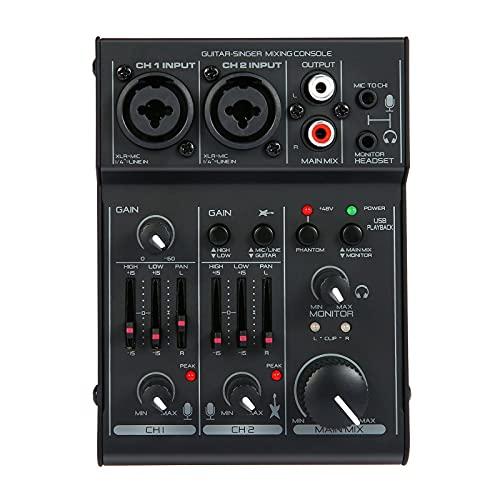 Mesa de Mezclas Tarjeta De Sonido De 2 Canales EQ De 2 Bandas Incorporada 48V Phantom Power 5V USB Alimentado para Streamers Podcasters (Color : Black, Size : One Size)