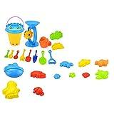 WFZ17 Juego de 25 juguetes de playa para niños, juego de moldes coloridos para exteriores, arenero, juguete multicolor