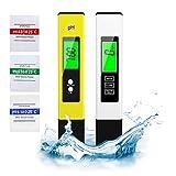 Medidor pH Medidor de PH digital 4 en 1 de calidad de agua,Prueba de Calidad del Agua 0-14 pH,Calibración Automática con 3 Polvos de Calibración para Agua Potable Hidroponía Acuarios Estanque