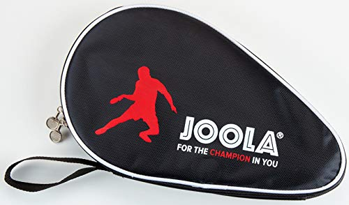 JOOLA Tischtennisschlägerhülle Pocket Double, Schlägerhülle für 2 Tischtennisschläger, im trendigen Design Tischtennishülle, schwarz/rot, one Size
