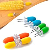 POTALL 8 Pieces Large Stainless Steel Corn Fork, Corn on the Cob Holders, Corn Picks, Corn Cob Holders Set, Skewer Holder, Outdoor BBQ Corn Fork, Kitchen Barbecue Fork