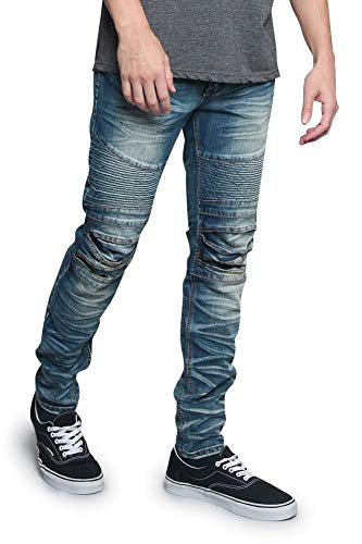 Victorious Men's Artisanal Creased Ribbed Thigh Layered Knee Moto Biker Denim Jeans DL1083 - Indigo - 38/32 - V7C
