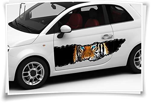 Medianlux Auto-Aufkleber Seitenstreifen Tiger Tiere Feuer Augen Airbrush Folie Tuning Car-Wrapping Luftkanalfolie Digitaldruck Folierung