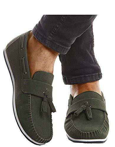 Leif Nelson Herren Mokassins Schuhe für Freizeit Sommerschuhe Business Slipper Casual Männer Freizeitschuhe für Sommer Elegante Herrenschuhe Sneaker Moderne Halbschuhe LN204 42, Khaki
