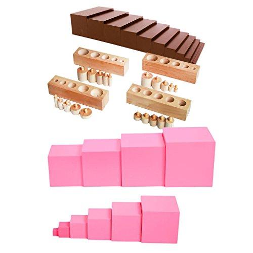Sharplace Montessori Material: Holz Rosa Turm mit Perlen-Treppen und Zylinder Blöcke, Kinder Pädagogisches Spielzeug