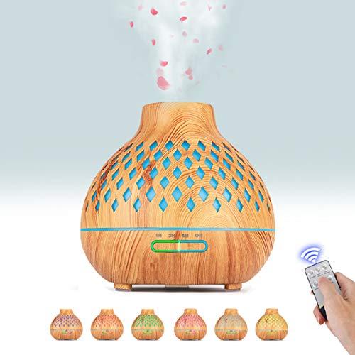 Boaxunly Humidificador Aromaterapia Ultrasónico 400ML, 7-Color LED, 3 Ajuste de Tiempo, con Función de Protección contra la Escasez de Agua, para Yoga, Salón, SPA, Oficina, Dormitorio