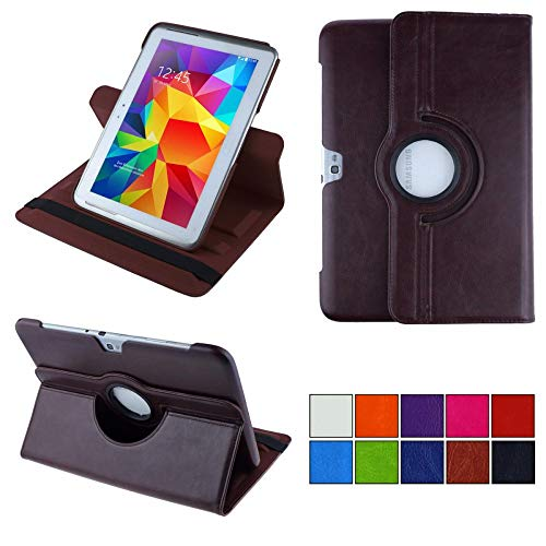 COOVY® 2.0 Cover für Samsung Galaxy Note 10.1 GT-N8000 GT-N8010 GT-N8020 Rotation 360° Smart Hülle Tasche Etui Case Schutz Ständer | braun