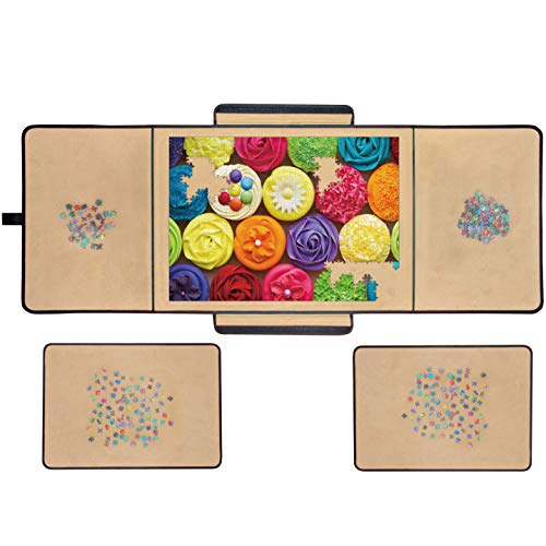 """Jigsaw Puzzle Board Portable Puzzle Mat, Store and Transport Jigsaw Puzzles Up to 1000 Pieces, Non-Slip Felt Surface, Lightweight, 23"""" x 32"""""""