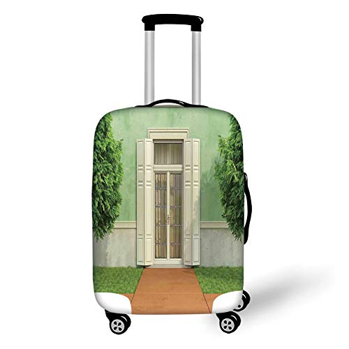 Reizen Bagage Cover Koffer Beschermer, Rolluiken Decor, Klassieke Decor Afbeelding van Tuin van een Oud Huis met Gesloten Raam en Rolluiken Print,Groene Crème, voor Reizen